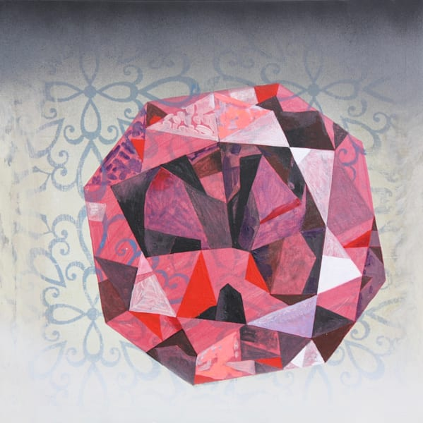 'Kumar' Octagon Ember Ruby, Jewel Art by Upcycling Artist S.P. from Cool Art House