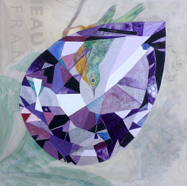 'Eate' Pear Amethyst,  Acrylic on canvas poster original painting by S.P.