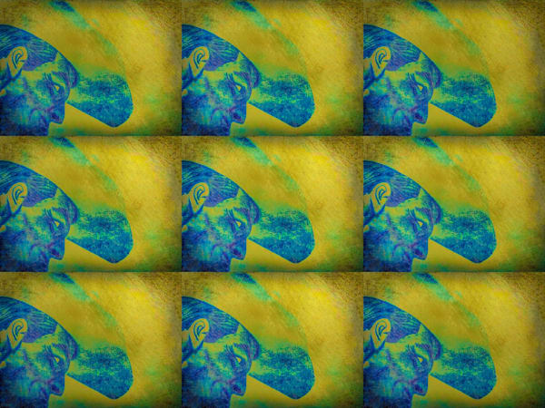 Shop Digital pixelated art panel of 6 cowboys in vivid yellow, green, and blue print blue colors
