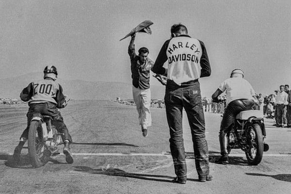 Harley Start – 1953 Drag Racing  by Richard Stefani