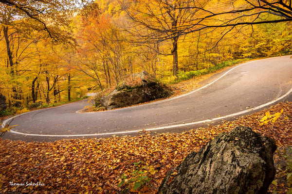 Smugglers Notch Vermont fall foliage | The Hairpin Curve along Mountain Road | Fine Art photography prints