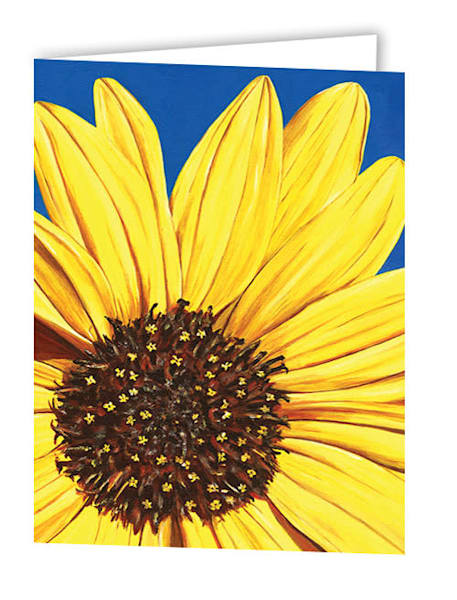 Uniquely made greeting cards in an 8 pack set printed with original artwork of 'Peeking Sunflower' by Mary Anne Hjelmfelt