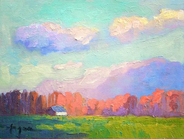 Virginia Landscape Farm Original Oil Painting by Dorothy Fagan