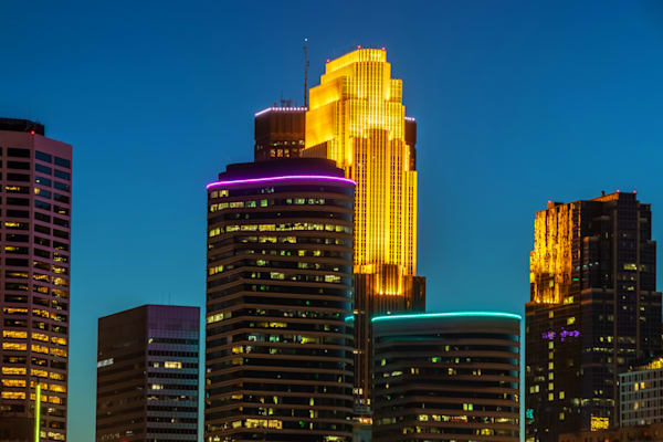 Colorful Minneapolis Skyline at Dusk - Minneapolis Skyline Print | William Drew