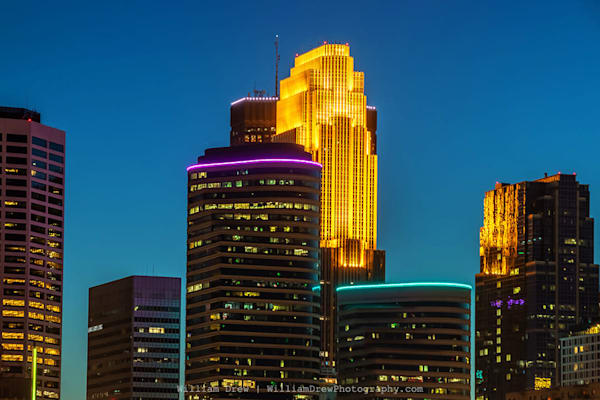 Colorful Minneapolis Skyline at Dusk - Minneapolis Wall Murals | William Drew Photography
