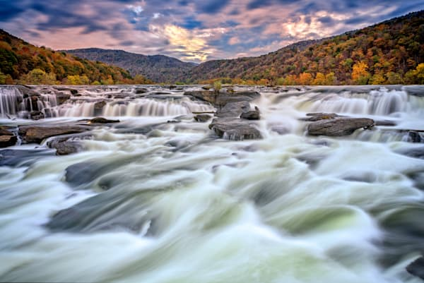 Cloudy Sunset at Sandstone Falls | Shop Photography by Rick Berk