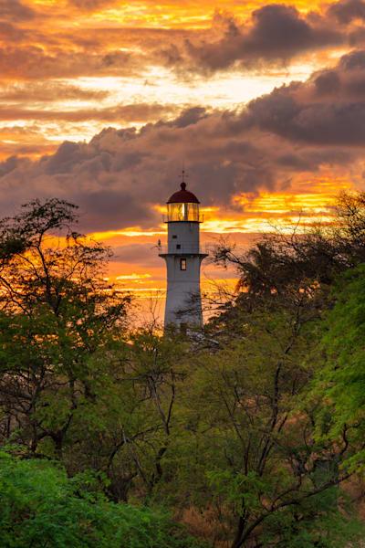 Diamond Head Lighthouse Under the Fire Skies