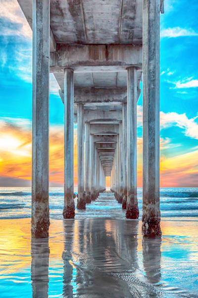 Scripps Pier At Sunset Vertical Photography Art   Rosanne Nitti Fine Arts