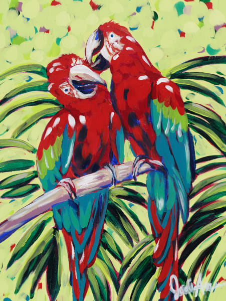 Pretty Birds is a fine art print of two scarlet macaws.