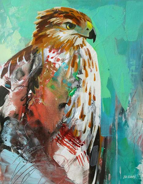 Evamy Hawk Open Store Art by Zoë Evamy - water media artist
