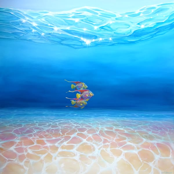 large oil painting of an underwater seascape with three queen angel fish swimming in formation.