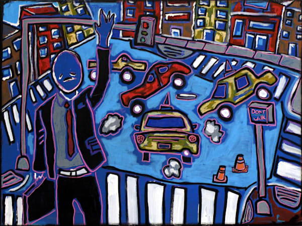 Uptown Original Painting by Artist Paul Wylencyzek Available for Purchase - Wet Paint NYC Gallery