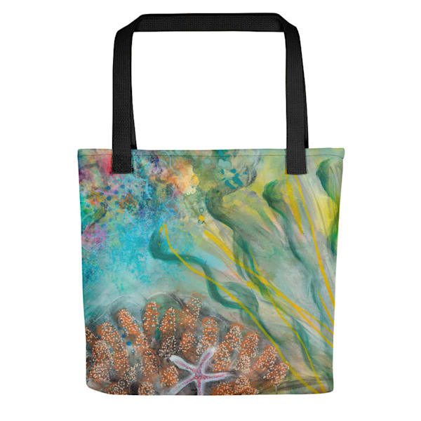 Starfish On The Coral Tote by Debbie Dicker - Art