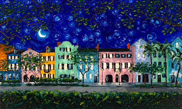 Rainbow Row at Night Original Oil Painting | Fer Caggiano Art