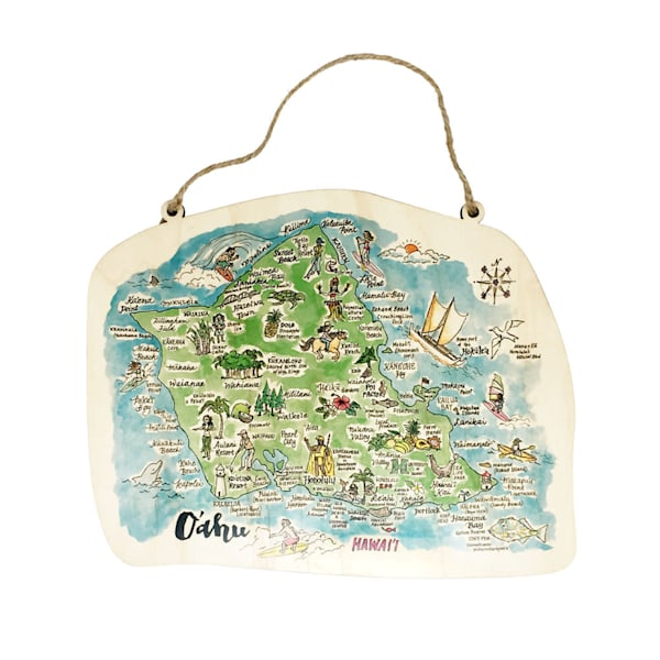 Watercolor Oahu Map Rope Sign | Pictures Plus