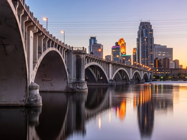 Dusk in Minneapolis Below the Central Avenue Bridge - Art for Sale Minneapolis