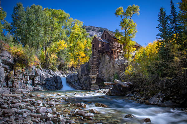 Crystal Mill water level view - Colorado - fall colors - fine art photography prints -