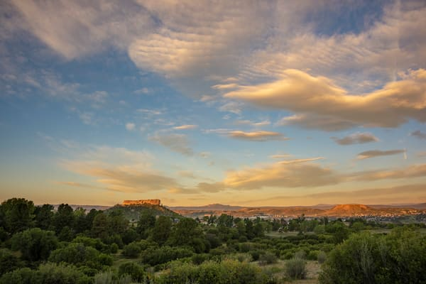 Castle Rock CO Landscape Photo at Sunrise, Wispy Stair Clouds