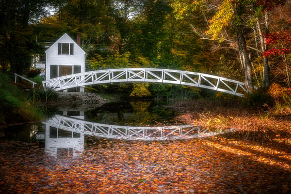 Somesville Bridge Reflections with Fall Foliage. Colorful autumn scene of Maine footbridge and environs by fine art photographer Mike Taylor of Taylor Photography