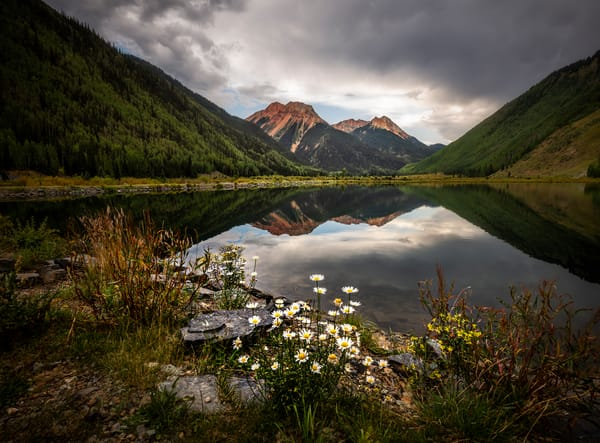 Red Mountain Reflection in Crystal Lake. Late summer scene of Crystal Lake in the San Juan Mountains of Colorado by fine art photographer Mike Taylor of Taylor Photography.