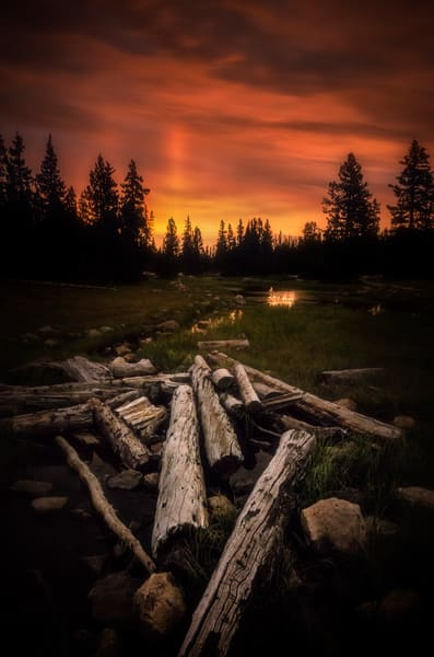 Light Pillars at Mirror Lake in Utah's high Uinta Mountains in late summer. Fine art photograph by Mike Taylor of Taylor Photography.