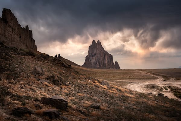 Shiprock amid gathering clouds. Fine art print, sacred Navajo site in New Mexico, western landscapes by Mike Taylor of Taylor Photography.
