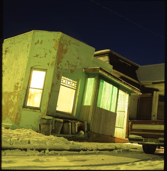Butte House At Night, Gold Street Art | Paper & Ink Artists