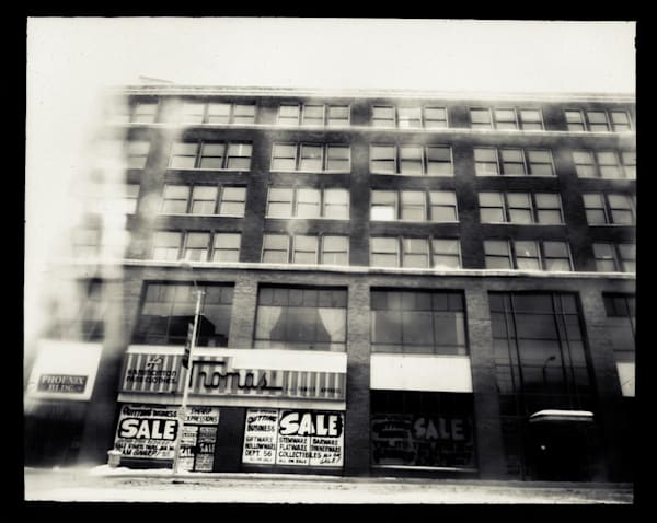 Miners Bank Building, Exterior (paper negative, 8x10 pinhole camera from a sheet of cardboard, lens: broken glass, Nikolai vodka bottle)