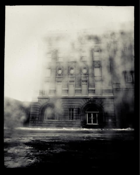 Masonic Temple, Exterior (paper negative, 8x10 pinhole camera from a sheet of cardboard, lens: plastic cigarette wrapper)