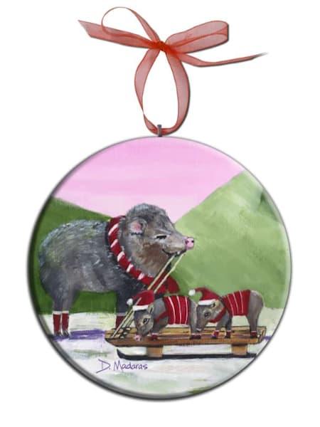 Javelina Holiday Round Southwest Ornament