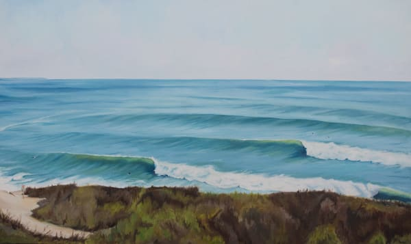 Sets At The Point, 2. Archival print of an original diptych oil on canvas painting by Montauk fine artist, Candace Ceslow.