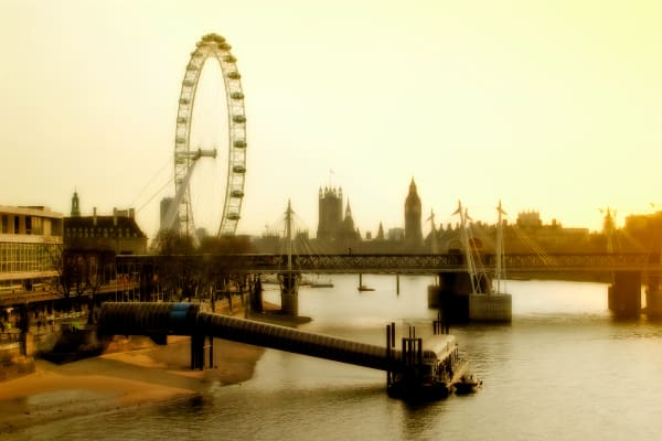 London Eye and Westminster, London, England