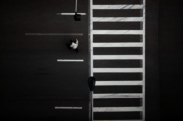 Overhead Graphic of Pedestrians Crossing Street, Chicago, Illinois