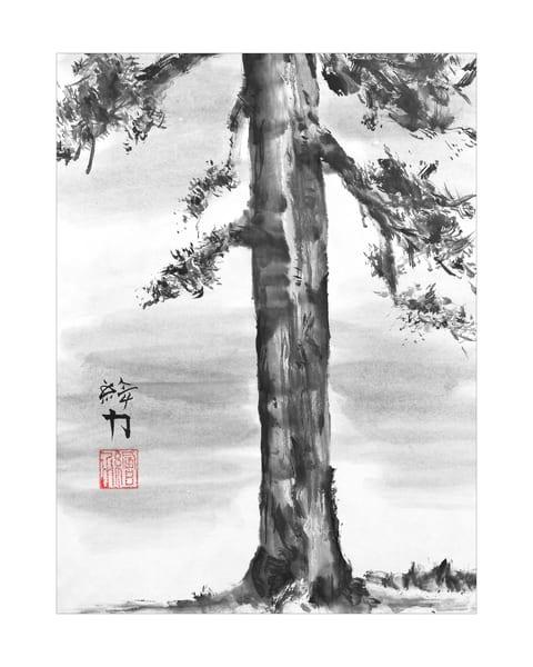 sumi-e, pinetree, two, black, ink