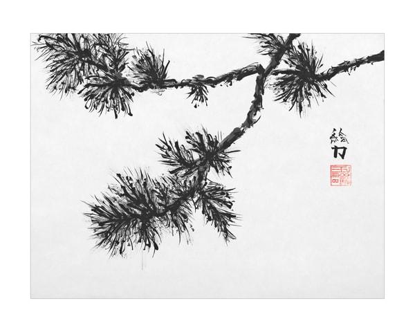 sumi-e, pinetree, one, black, ink