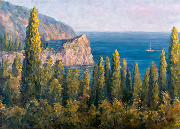 View of the Sea with Cypresses by Ruslan Vigovsky an Ukrainian painter.