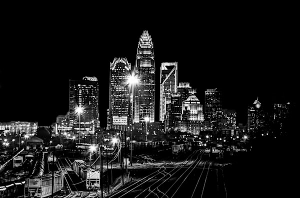 Charlotte Skyline Black and White 1 Photograph for Sale as Fine Art
