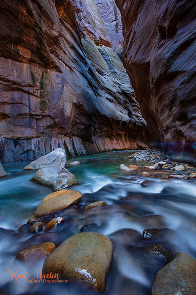 Zion Narrows Flow wiht Glowing Wall Photograph 2926| Zion Narrows | Zion National Park | Canyon Photography | Koral Martin Fine Art Photography