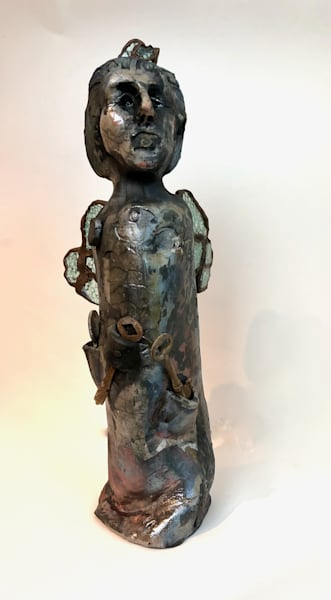 """Key Angel 2""   by Monique Sarkessian .Prophetic art ceramic work raku fired clay sculpture with glass mosaic and antique key motifs."