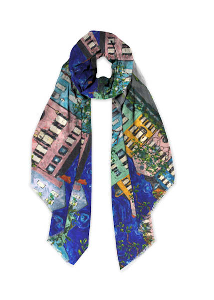Rainbow Row at Night Modal Scarf | Fer Caggiano Art