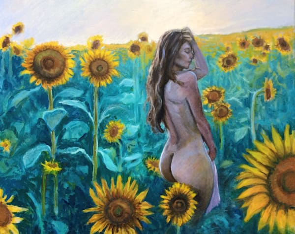 Sunflowers at Dusk Original Fine Art Oil painting