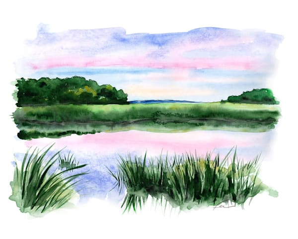 Marsh Land at Sunset Watercolor | Fer Caggiano Art