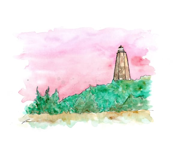 Old Baldy Lighthouse Watercolor | Fer Caggiano Art