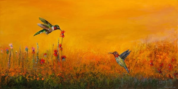 Tracy lynn pristas hummingbird painting chicago commissioned artwork collected spaces 24 x 48 bcouqx