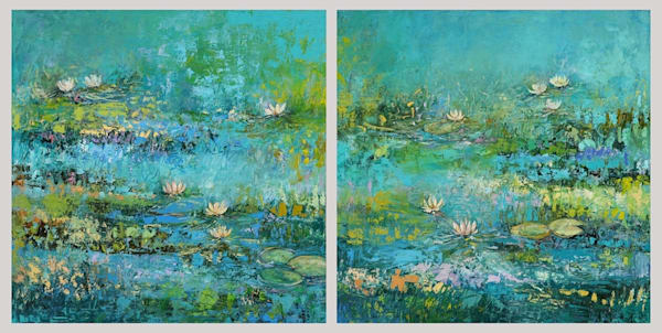 Blue lotus residential commission by tracy lynn pristas  diptych iuapfq