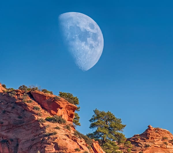 Zion Cliffs Sunset Moon