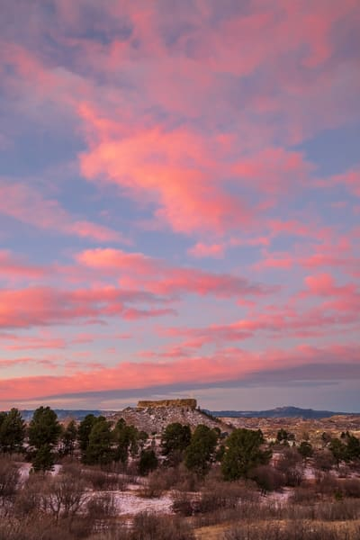 Vertical Twilight Photo of Castle Rock Colorado Star & Pink Clouds