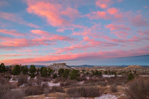 Colorado Landscape Photo of illuminated Castle Rock Star & Pink Clouds
