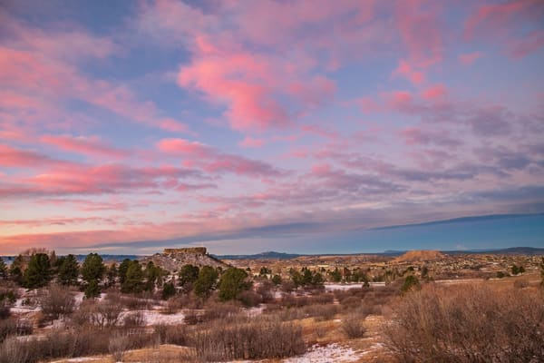 """Colorado Photo of Illuminated Castle Rock Star with Pink Clouds Above """"The Rock"""""""