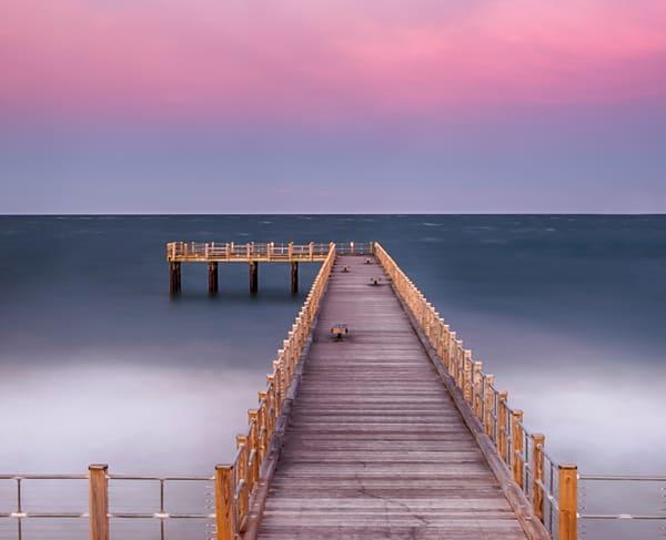 Oak Bluffs Pier Sunset Waves Art | Michael Blanchard Inspirational Photography - Crossroads Gallery